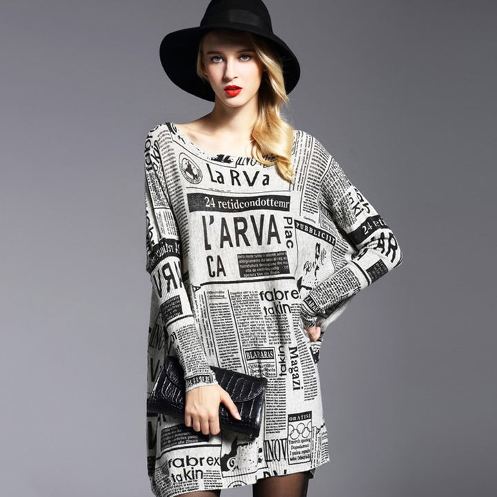 Women's Autumn Casual Knitted Sweater Dress - Zorket