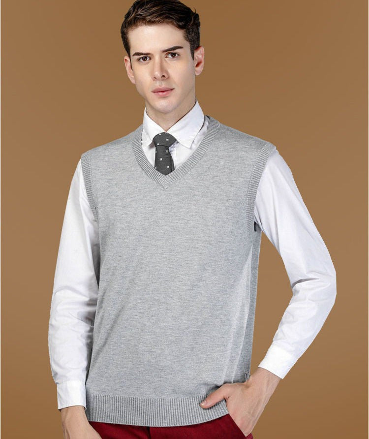 Men's Classic Solid Color V-Neck Sweater Vest - Zorket