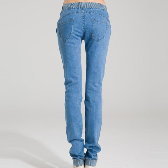 Regular Pencil Jeans With Drawstring - Zorket