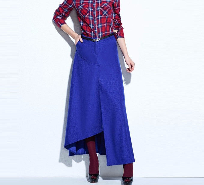 Women's Royal Blue A-Line Spring Vintage Skirt - Zorket