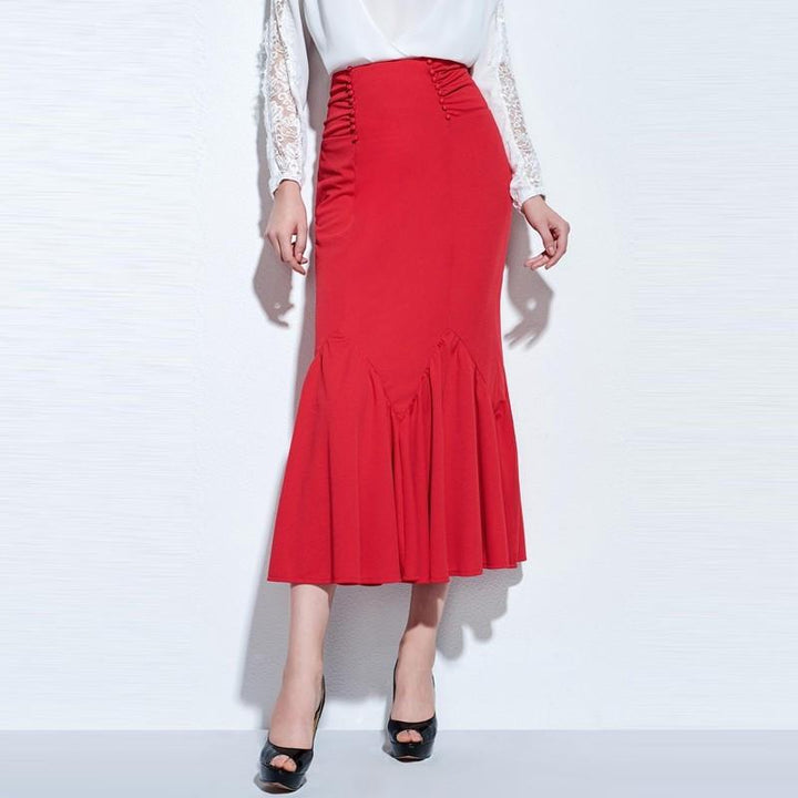 Elegant Slim High-Waist Red Mid-Calf Women's Office Look Skirt