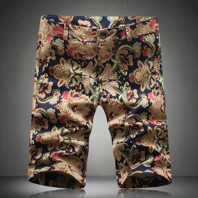 Shorts – Men's Casual Slim Fit Cotton Vintage Flower Print Shorts | Zorket