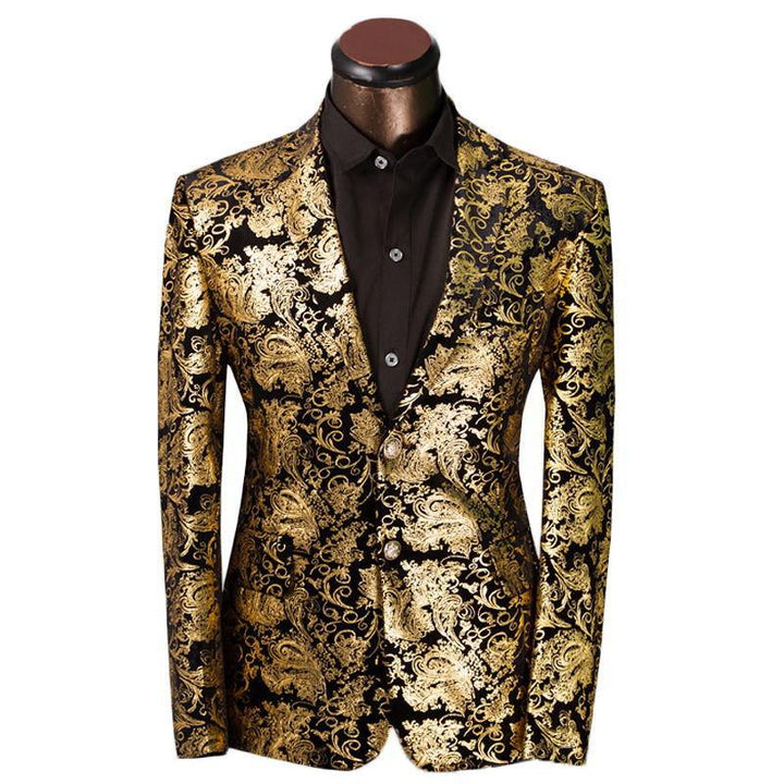 Men's Luxury Golden Floral Slim Fit Suit Jacket