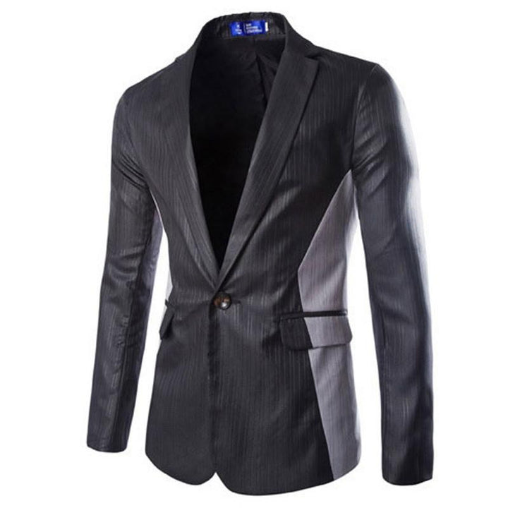 Casual Single Button Slim Fit Patchwork Blazer