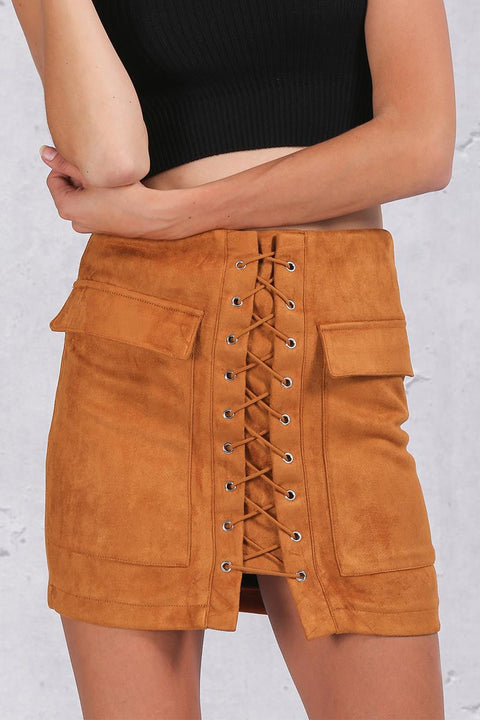 Autumn Suede Leather Women's Vintage Skirt - Zorket