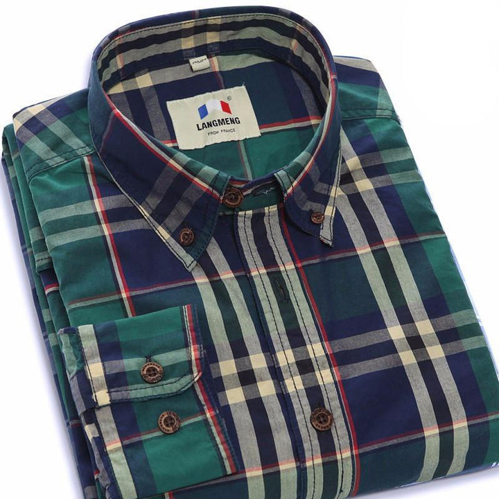 Men's 100% Cotton Long Sleeve Plaid Shirt