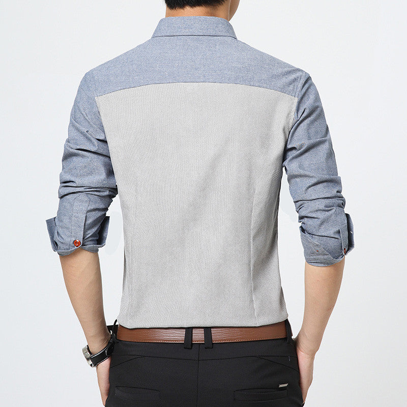 Men's High Quality Casual Patchwork Slim Fit Shirt - Zorket