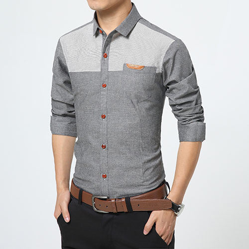 Shirt – Men's High Quality Casual Patchwork Slim Fit Shirt | Zorket