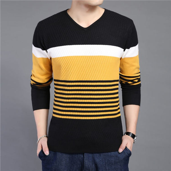 Pullover – Men's Knitted Striped V-Neck Slim Fit Sweater | Zorket
