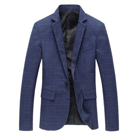 Men's Plaid High Quality Cotton Business Blazer