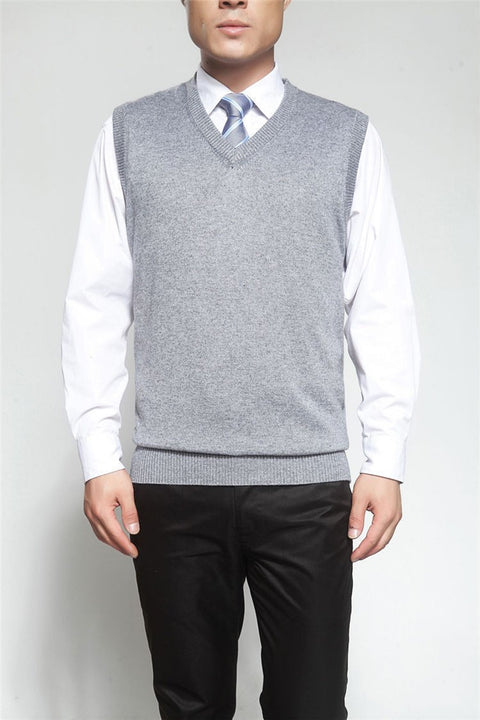 Men's Solid Color V-Neck Cashmere & Wool Classic Vest Sweater - Zorket