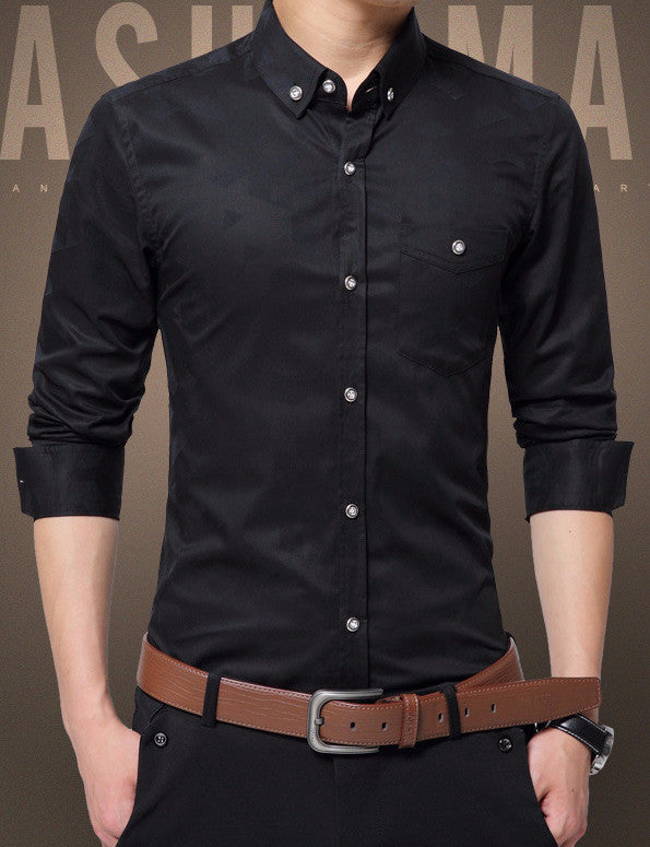 Shirt – Men's Casual Jacquard Weave Slim Fit Shirt | Zorket