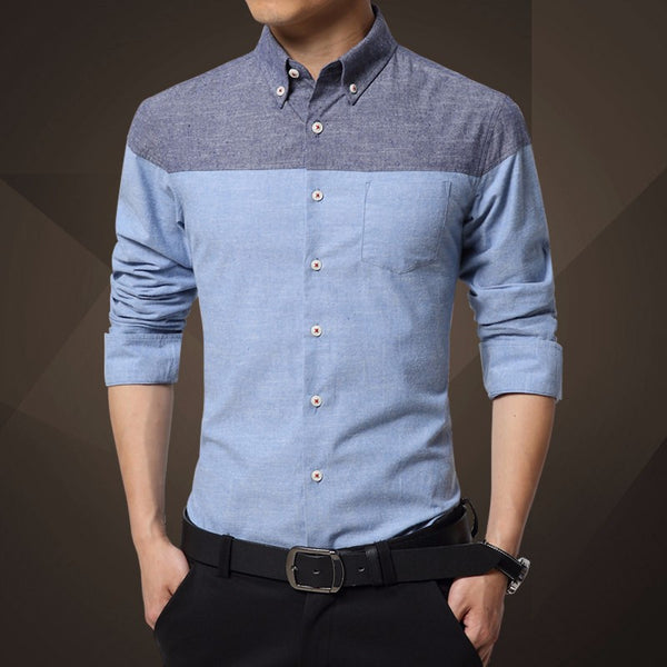 Shirt – Men's Casual Patchwork Slim Fit Shirt | Zorket