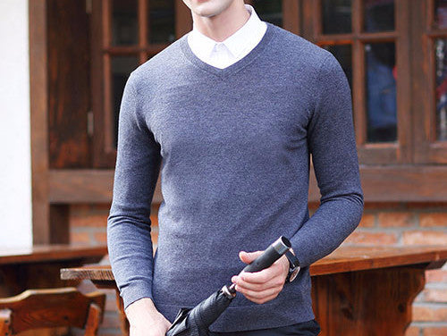 Men's Wool High-Grade V-Neck Pullover - Zorket