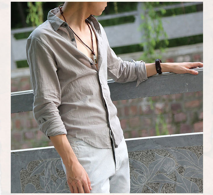 Men's Casual Top Quality Cotton & Linen Shirt - Zorket
