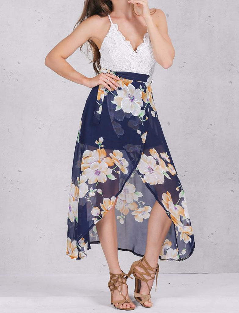 Women's V-Neck High Waist Summer Dress - Zorket