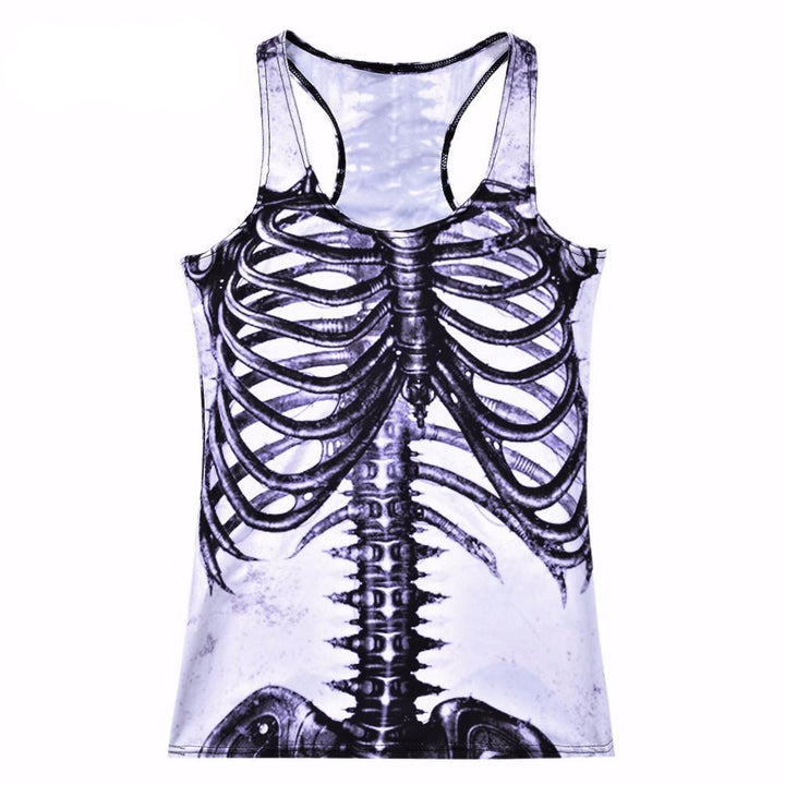 Funny Women's Tank Top With A Picture Of The Skeleton