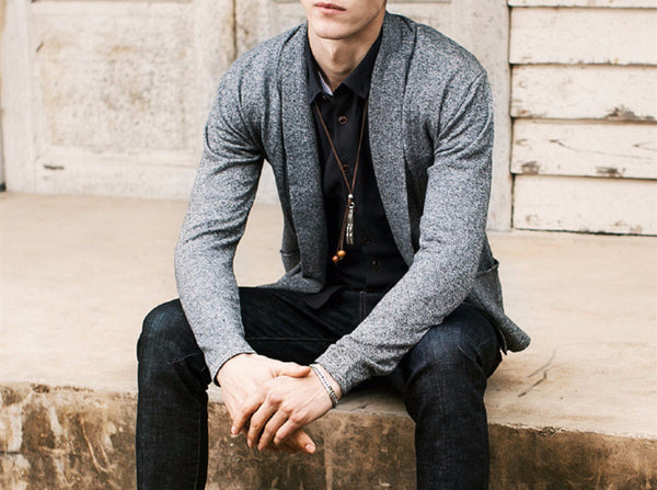 Cardigan – Men's Solid Color Slim Cardigan | Zorket