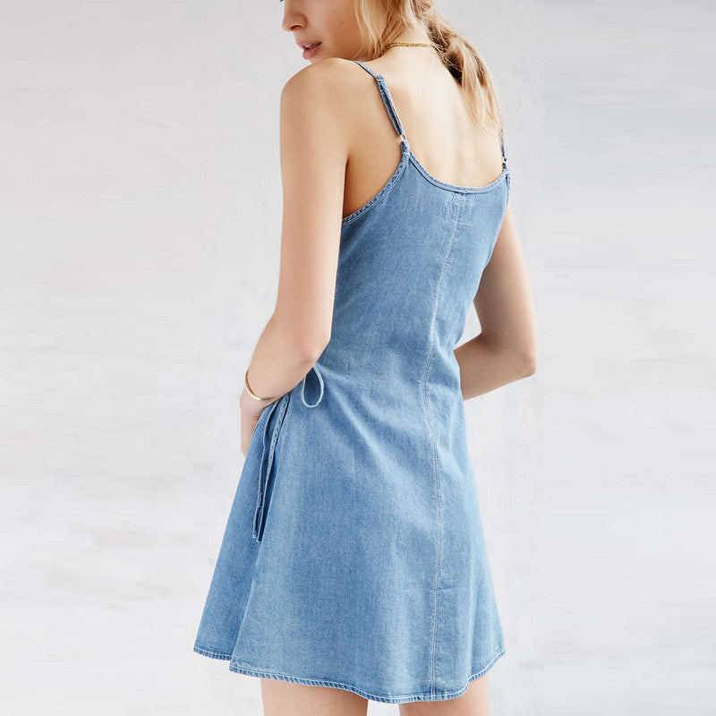 Summer Deep V-Neck Denim Mini Dress - Zorket