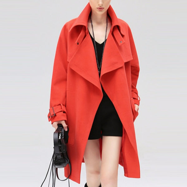 Trench Coat – Solid Color Women's Casual Winter Overcoat | Zorket