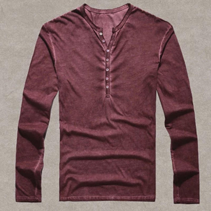 Men's Cotton Casual Long Sleeved Vintage T-Shirt