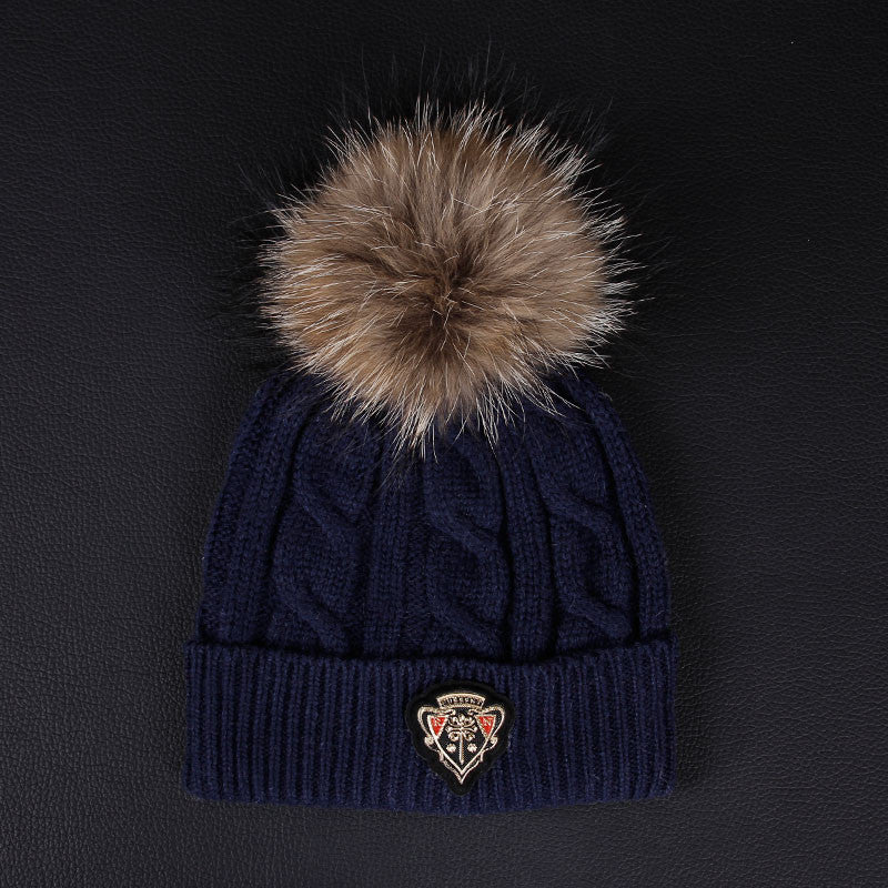 Women's Warm Winter Hat With Fur Ball - Zorket