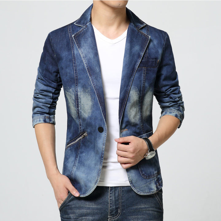 Men's Classic Blue Solid Denim Blazer - Zorket
