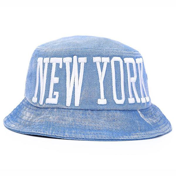 "Women's Summer Cotton Bucket Hat With ""New York"" Embroidery"