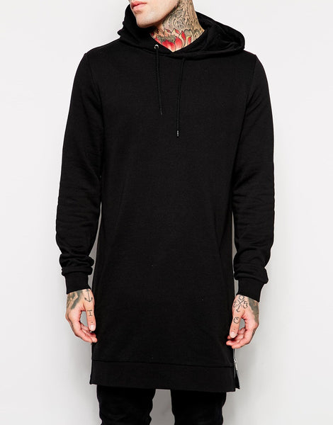Hoodies & Sweatshirts – Men's Long Black Hooded Sweatshirt With Side Zip | Zorket