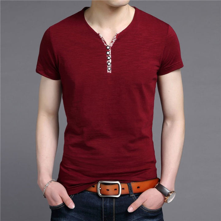 Men's Slim Fit Cotton V-Neck T-Shirt - Zorket