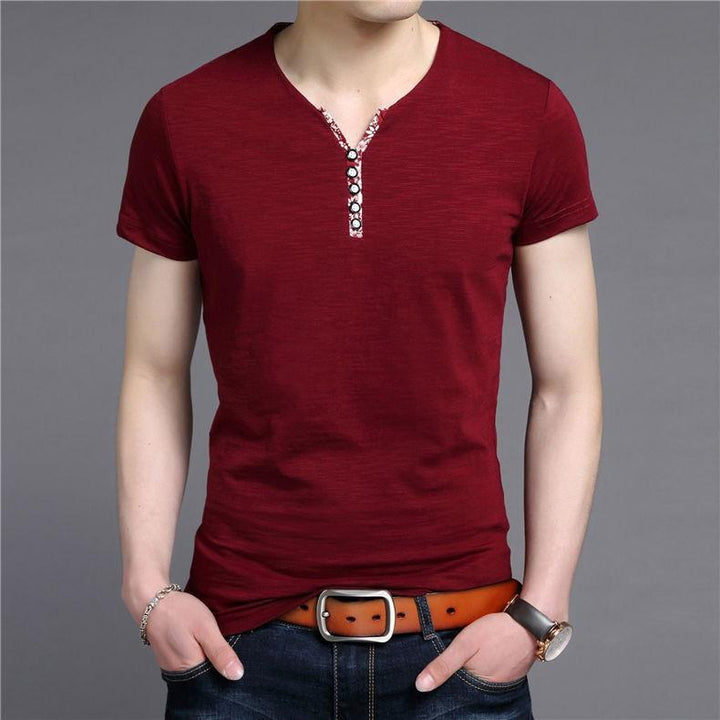 Men's Slim Fit Cotton V-Neck T-Shirt