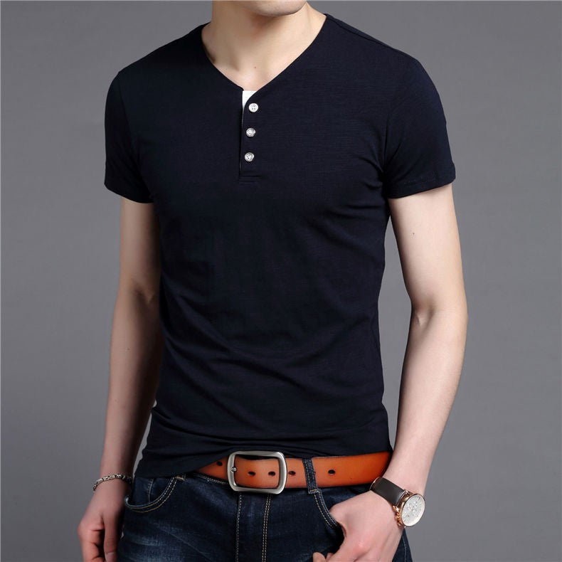 Men's Short Sleeve Cotton V-Neck T-Shirt - Zorket