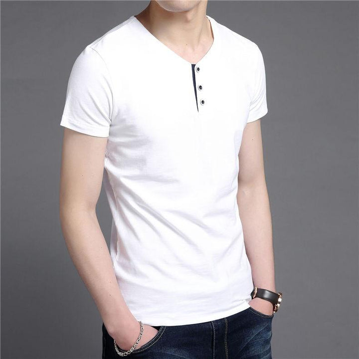 Men's Short Sleeve Cotton V-Neck T-Shirt