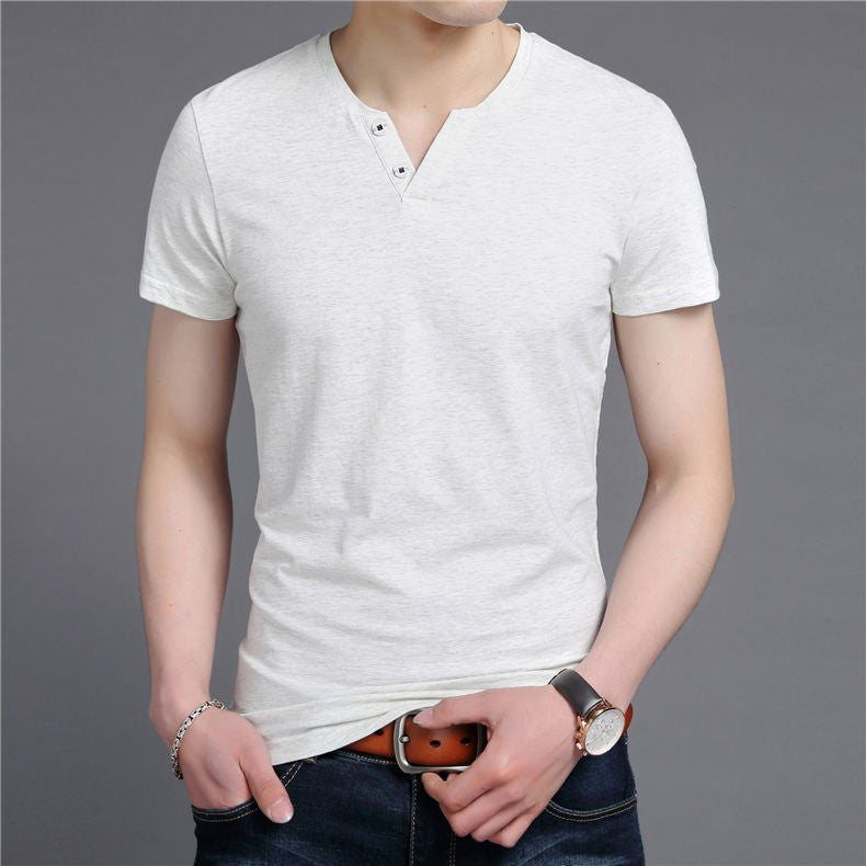 Men's V-Neck Slim Fit Short Sleeve T-Shirt - Zorket