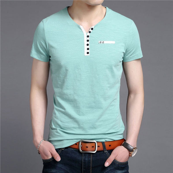 T-Shirt – Men's High Quality Solid Color V-Neck T-Shirt | Zorket