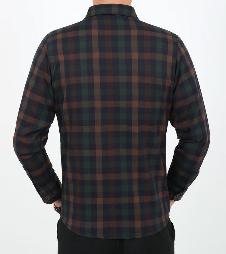 Men's Cotton Long Sleeve Classic Plaid Shirt - Zorket