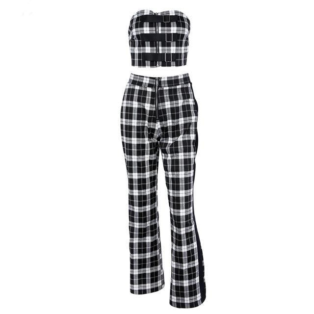 Women's Summer Sleeveless Plaid Two-Piece Romper