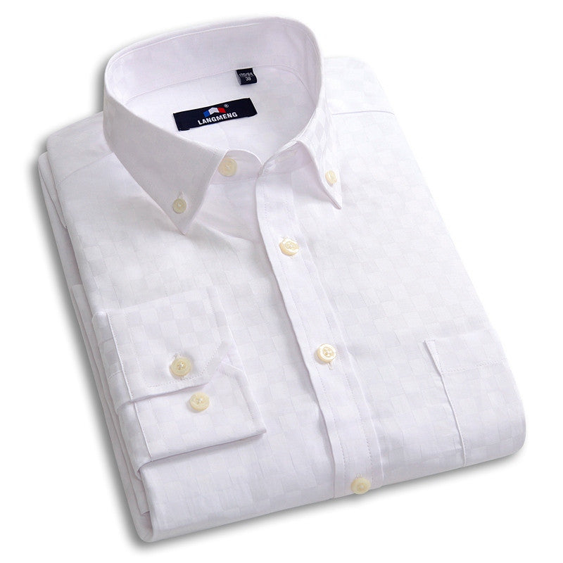 Men's Solid Color Long Sleeved Casual Shirt - Zorket