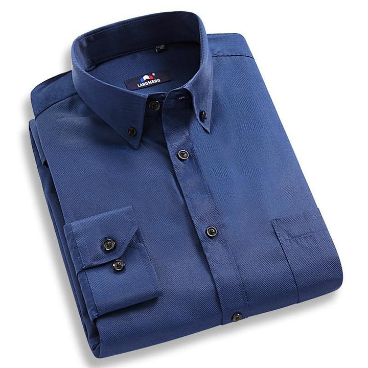 Men's Solid Color Long Sleeved Casual Shirt