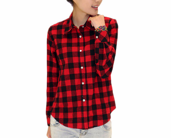 Shirt – Plaid Shirt With Turn-Down Collar | Zorket