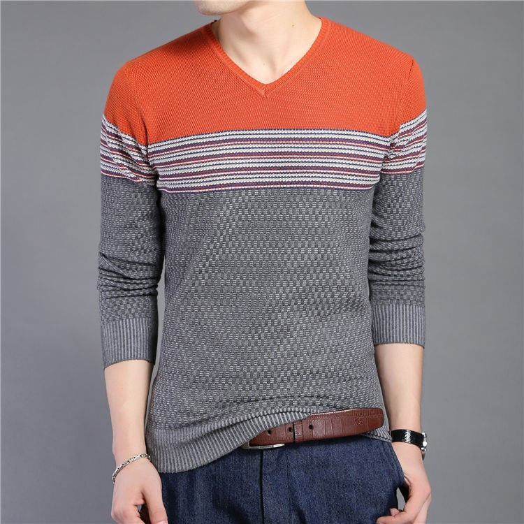Men's Striped V-Neck Casual Patchwork Pullover - Zorket