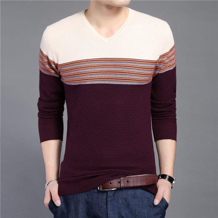 Men's Striped V-Neck Casual Patchwork Pullover