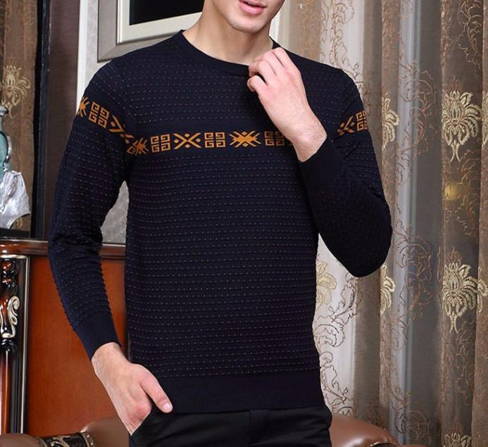 Men's Knitted Long Sleeve Slim Fit Sweater