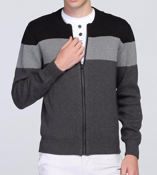 Men's Casual Zipped Cardigan Sweater