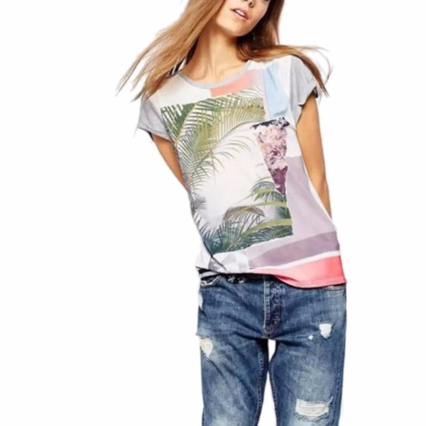 T-Shirt – Women's Casual O-Neck Light T-Shirt With Patterned Palm Leaves | Zorket