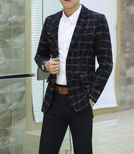 Blazer – Men's Plaid Casual Slim Fit Blazer | Zorket