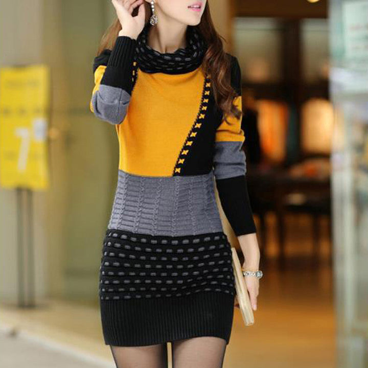 Warm Knitted Sweater Dress - Zorket