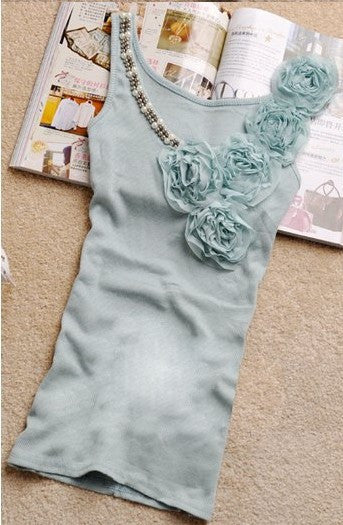 Stylish Solid Tank Top With Flower Decor - Zorket