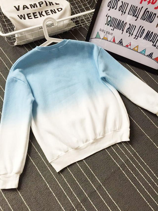 Spring & Autumn Gradient Color Casual Women's Sweatshirt With O-Neck