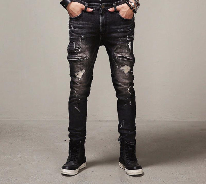 High Quality Mens Ripped Biker Jeans